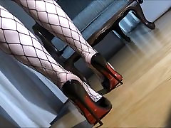 Black Mules And Fishnet Stockings