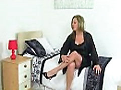 British milf Silky Thighs Lou rubs her mature cunt