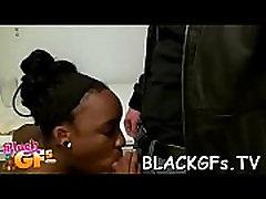 Shlong enters black twat on closeup