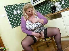 OldNannY Busty chlle amour Solo Play in the Kitchen