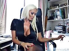 Blonde big tits office boss Lucy Zara panties nylons tease