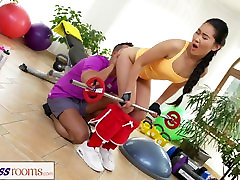 Fitness Rooms hot sex mfc strip gym fucking and facial for cute Asian