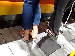Feet play w her big feets bathroom repairing long red toes