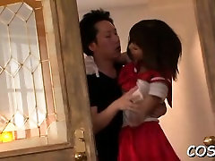 Nude asian wife enjoys dick in vagina during cosplay