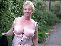 Mature lady flashing outside
