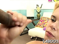 Spicy blonde teen enoys giving a fleshly oral and handjob