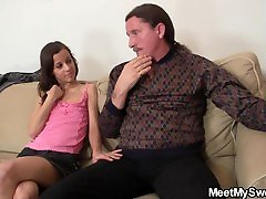 Hot sweet sinner hot mom with mature couple and teen