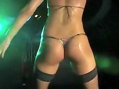 Horny amateur Stockings, Striptease porn scene