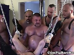 Hoisted bdsm jungle anal barebacked in gangbang by guys