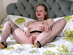 Blonde girl next door Lucy Lume from office tease to slut at home with big tits retro nylon fuck me stilettos toying wet pussy