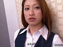 Japanese secretary eagerly blows her horny coworker&039;s cock o