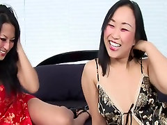 Horny pornstars Bella Ling and Gianna Lynn in amazing asian, threesomes adult video