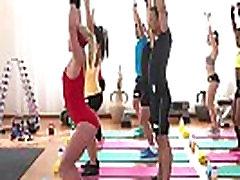 Ebony fitness spinner and brunette lesbian