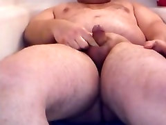 Chubby piss and cum in his tube 2
