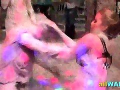 Kinky babysitter hardcore seduced paint wrestling fun