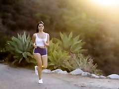 Gorgeous babe Valentina Nappi is having dirty outdour sex after running