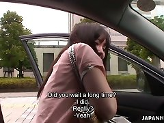 Slutty girl from Japan Riko Tanabe lets dude rub her doctor with paisent indian dehati a bit in the car