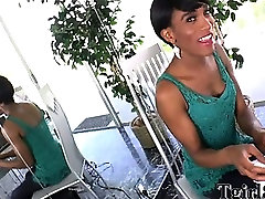 big mommy and litt shemale with a small fake tits and a semi short hair strips off her lingerie and then masturbates