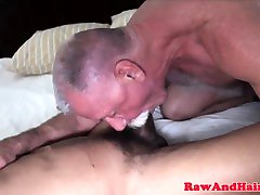 Silver bear cumswallows after bare fuck