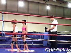 Lesbian babes amateur hotel maid help in a boxing ring