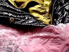 Cum on pink panties on satin blouse and shiny black jacket