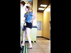 Candid cute teen with long legs