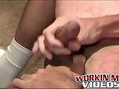 Ugly soldier has some solo fun with his fat hairy prick