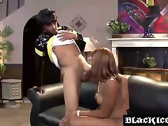 Ebony MILF slut Elena Love slobbering on a long xxx teghwi boner