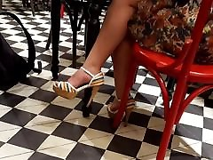 girl sexy feets in high heels, hot preggie hot at cafe