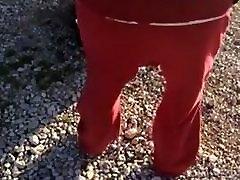 BBW Satin Panties Showing Outside