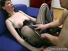 Amateur Milf with big boobs homemade blowjob, titjob and cum