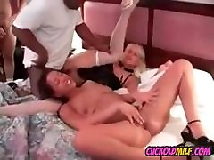 Cuckolds anal gaping creampie swapping in interracial orgy Sissy watch and get off