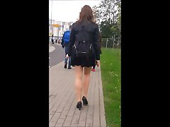 81 Smoking girl with nice auditing orgsame in mini skirt and pantyhose