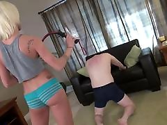 Hot blonde young mistress whipping her sunny leonne top fuck
