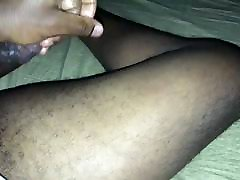 black dick cum all over thigh