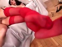 red, stocking, anal, ass, nylon, pantyhose, blonde,