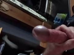 Steel cock ring wank with panties slow motion