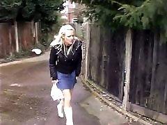 Hot blonde upskirt in black panties peeing in harmony jeans street