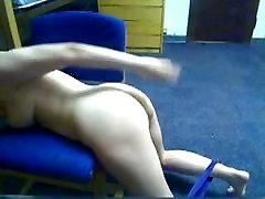 Self-spanking in her dorm room