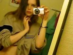 Selfie of emo blonde hoop showing hairy pussy