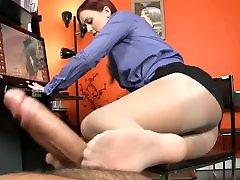 Secretary gives me a pantyhose footjob
