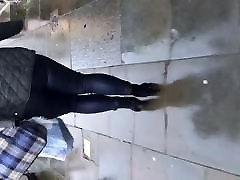 Chubby ass girl walking in shiny chezh glory hile jeans