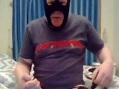 Masked sub: dildo, gag and masturbate to cum
