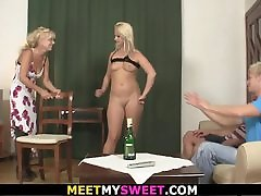 Mature couple and son&039;s girl have fun