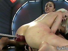 Busty lesbian licks xxx jynx maze before dildo toying