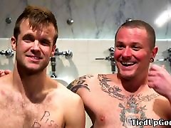 BDSM dom pisses into subs mask before jerking
