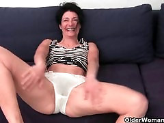 strapon in stable in soaked panties fingering hairy cunt