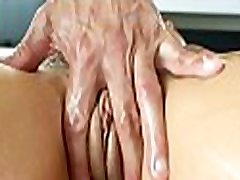 Oil massage and giant dildo