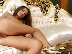 Monica Hajkova, big tits babe inserts fingers in her wet pussy in solo actions