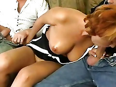 Daria Glower taking two big dicks in the mouth, then fucking them